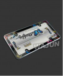 Plastic material paper printing with acrylic butterfly license plate frames