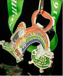 3 in 1 Metal bottle opener 5K running medal soft magnet on back