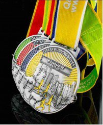 3D running sport medal with award ribbon (4color)