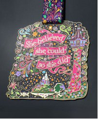 Colorful soft enamel girl running race medal