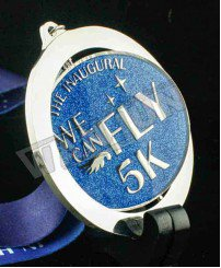 Fashional rotation spinner glitter with epoxy 5K running medal
