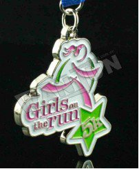 Girl running soft enamel 5k medal
