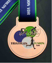Copper plating triathlon fusion metal medal
