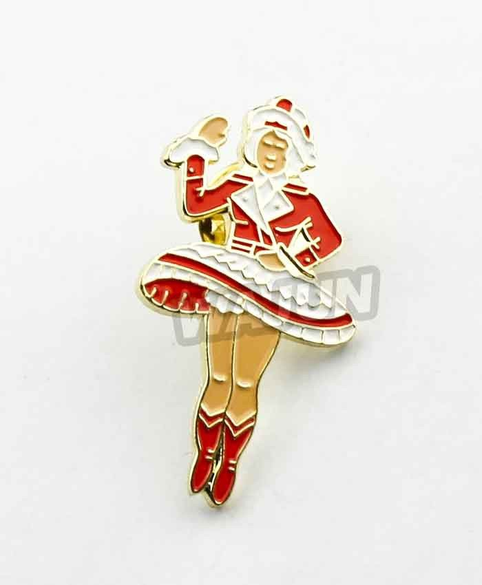 Red colorful sexy women soft enamel dance pins