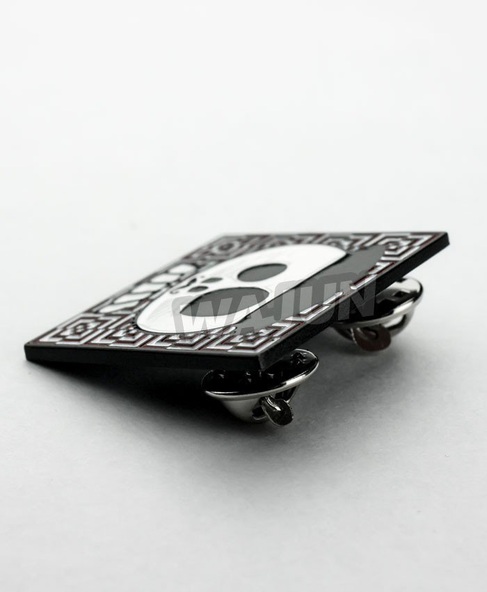 Black spray paint funny Square lapel pin