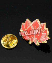 Painting with epoxy water lily flowers badge