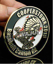 Round zinc alloy plating gold cooperstown baseball lapel pins