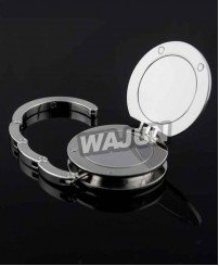 Custom metal zinc alloy Polishing cosmetic mirror bag hanger
