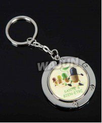 Screen printing with epoxy fashion useful metal purse table hanger keychain