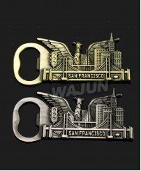 Zinc alloy die casting cheap san francisco city souvenir metal bottle opener fridge magnet