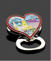 Heart shape san francisco souvenir metal bottle opener fridge magnet