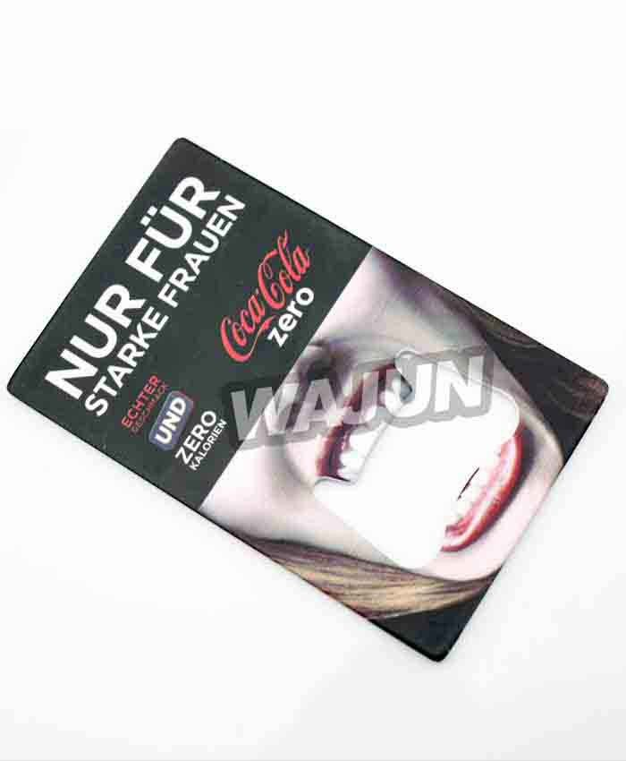 cocacola personalization business card Thermal transfer stainless steel bottle opener