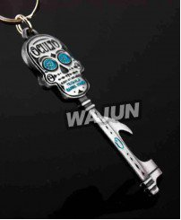 Antique silver plating skull key shape keychain bottle opener