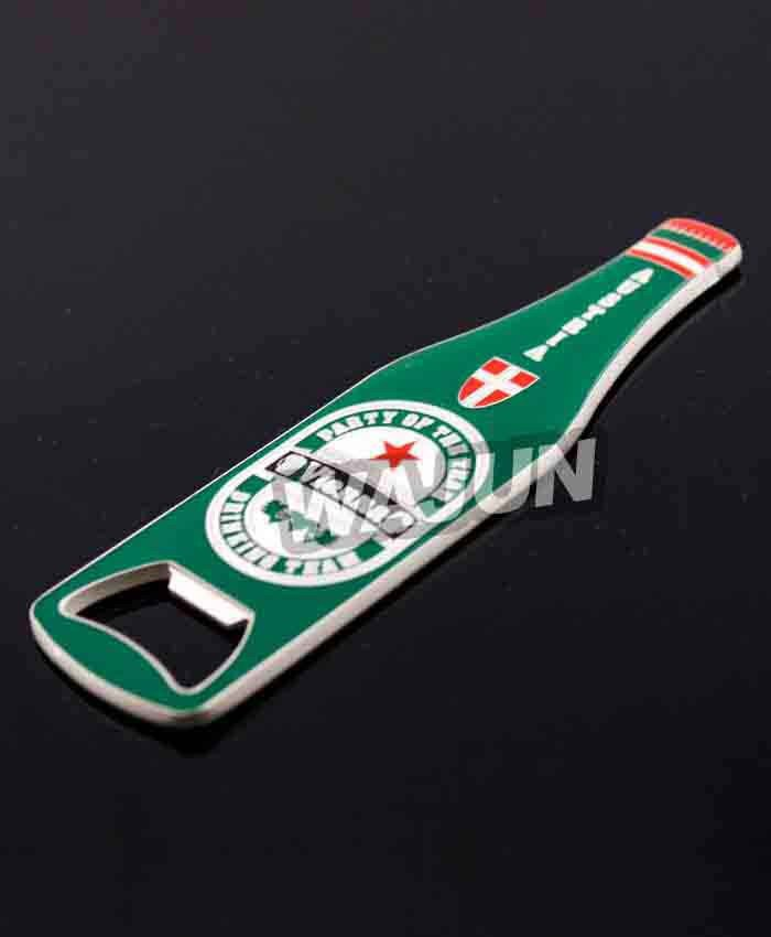 Zinc alloy beer bottle shape bottle openers with magnet on back
