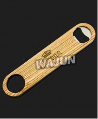 Double-deck custom metal and wooden bottle opener