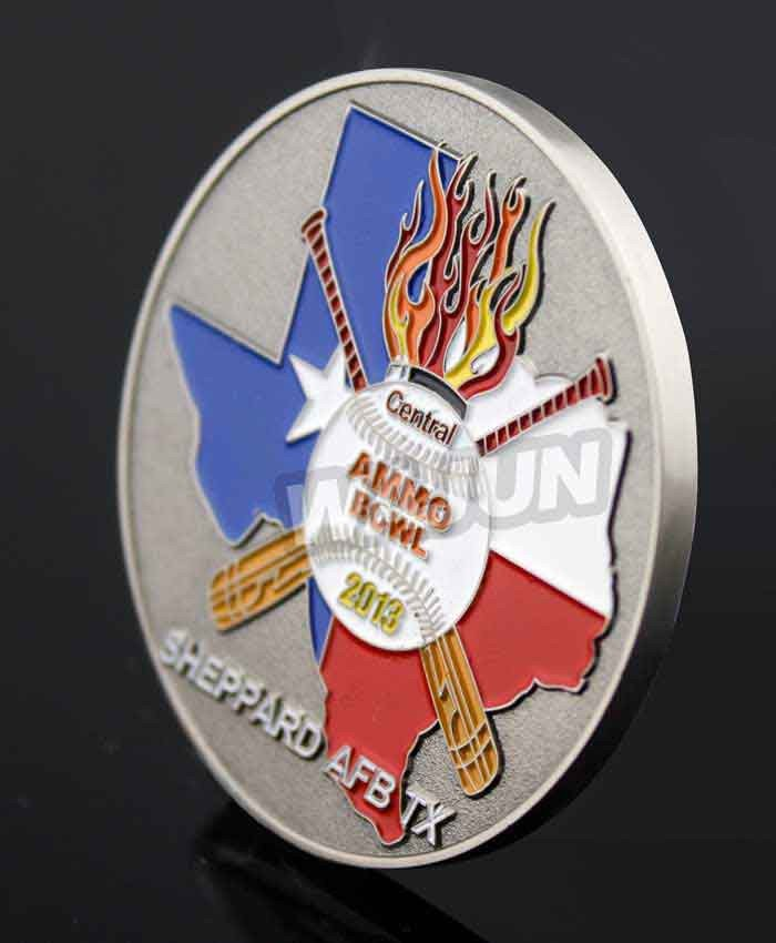 Custom baseball deep personalised coins