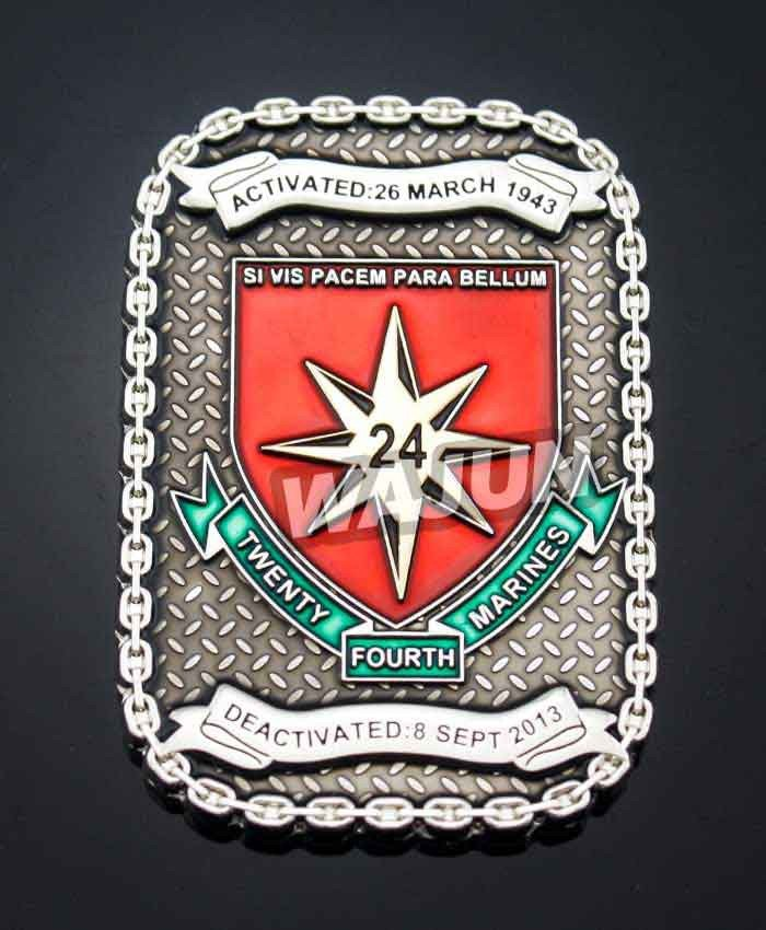 Metal chain edge army challenge coins custom design