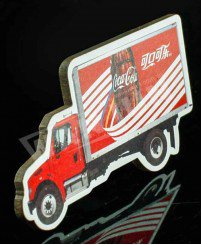 Cocacola car shape wooden fridge magnet with paper sticker