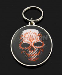 Unique skull head cmyk printing metal keychain for boyfriend BF gift