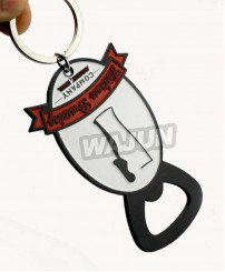 Custom company logo metal painting bottle opener keyring