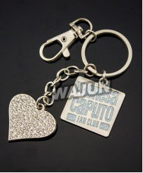 Insert rhinestone Heart shape diamante love keychain with glitter paint