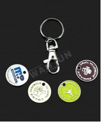Promotional trolly coin clips keychain with cuztomized logo