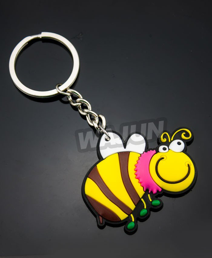 3D cute soft pvc Small animal keychain custom