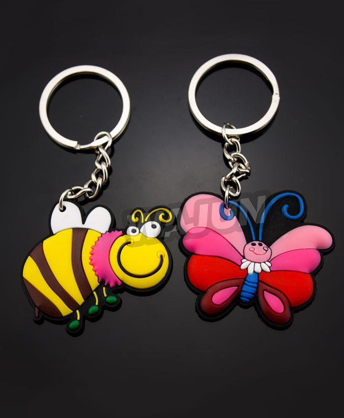 Bees and butterflies pvc keychain for child gifts
