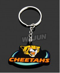 Cheetahs pvc key chain for sale zhongshan china manufacturer