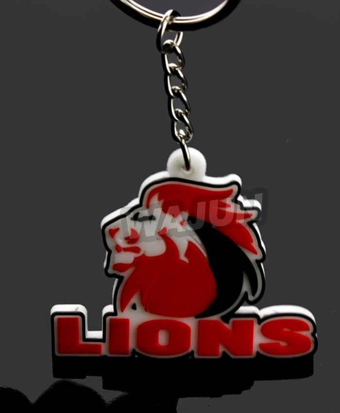 Cheap wholesale cute lions pvc key ring with new design