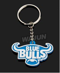 Blue bulls cute animal soft pvc key chain with ring