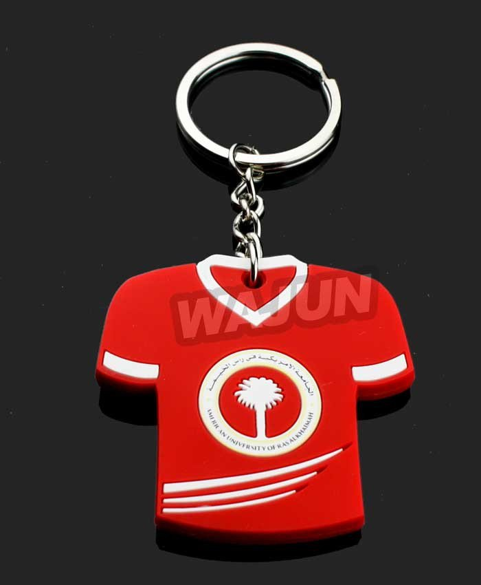 The football team jersey red soft pvc sport style keychain