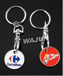 Shopping cart metal token trolley coin holder keychain