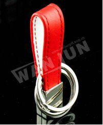 Wholesale promotional handmade custom leather keychain red color