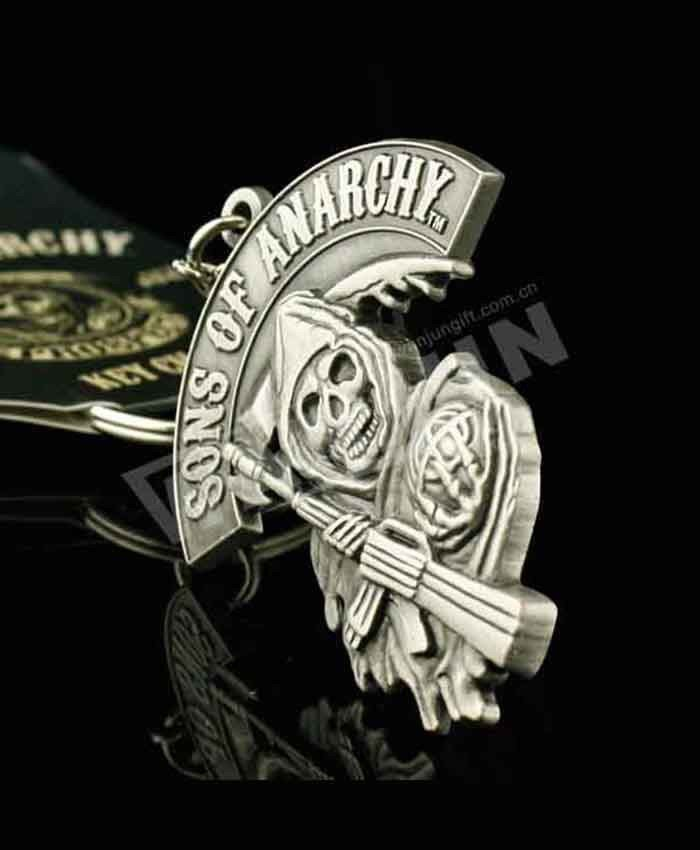 Zinc alloy 3D sons of anarchy metal keychain